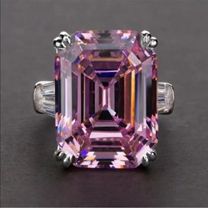 Pink stone fashion 925 sterling silver ring